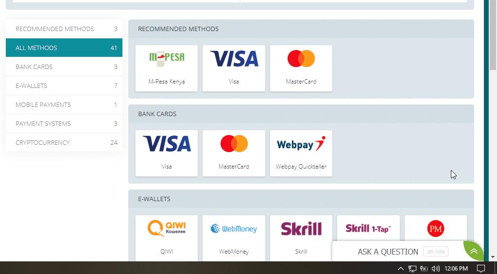 22bet payment methods