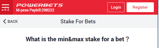 powerbet min&max stake for a bet