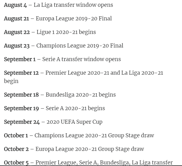 Serie a time table 2020