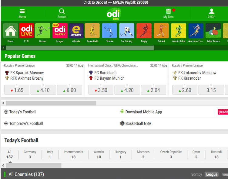 Odibets sport betting options screen shot