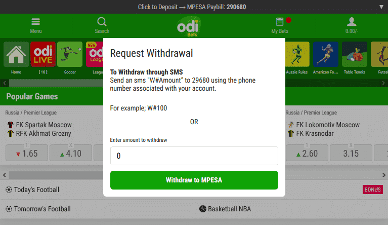 Odibets withdrawal screen shot