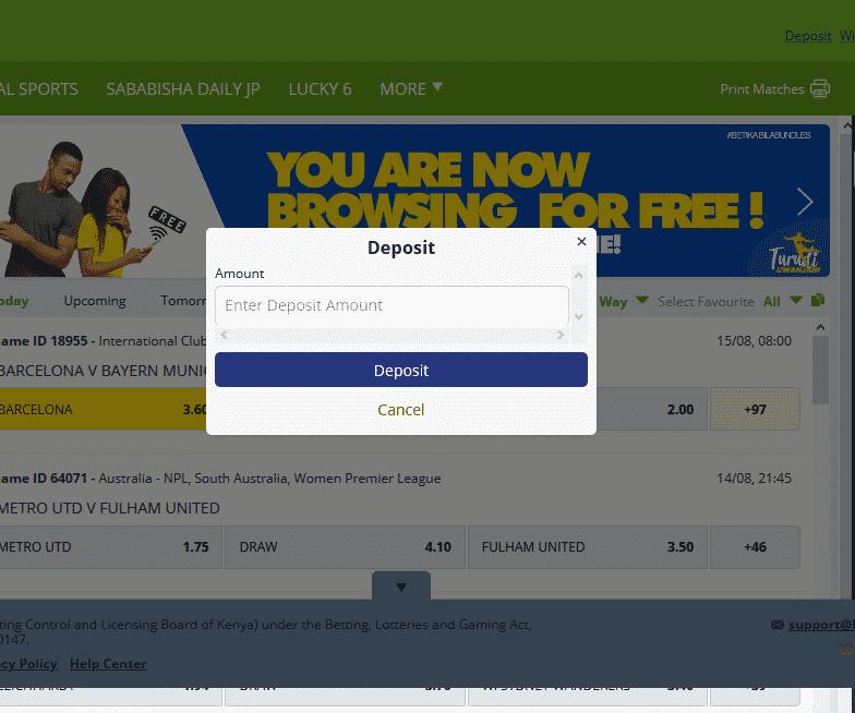 Betika deposit screen shot