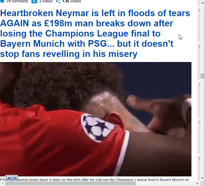 post on an emotional Neymar.