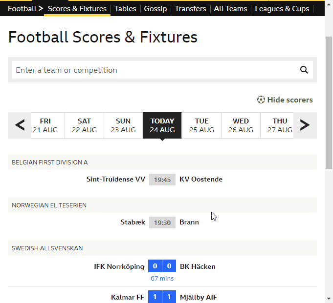Football Scores and Fixtures example