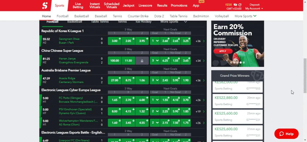 Sportybet betting screen shot