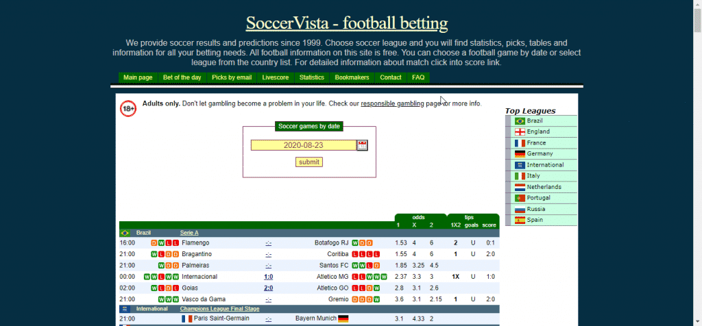 SoccerVista football betting