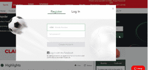 Sporty registration form screen shot