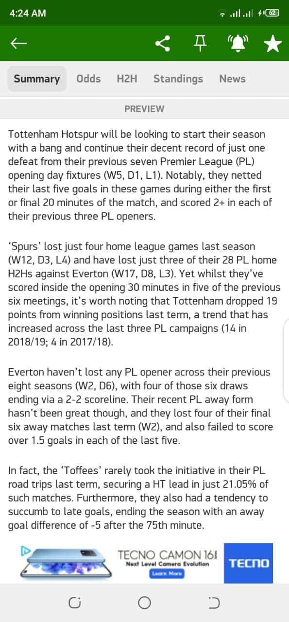 MarathonBet Tottenham vs Everton overview