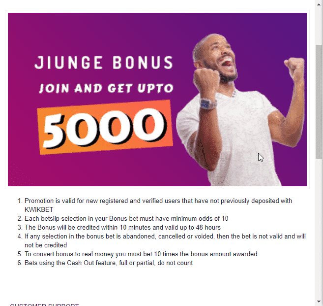 Kwikbet welcome bonus