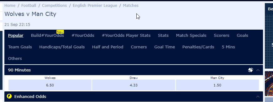 Wiiliam Hill Odds