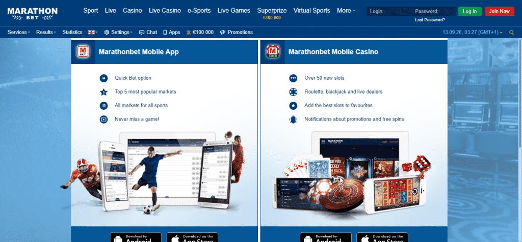 MarathonBet apps