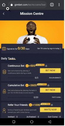 GimBet reward plan