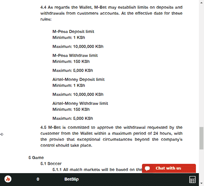 M-Bet withdrawal and deposit limits options