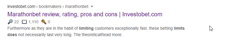 Google results for MarathonBet account limits