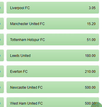 premier league odds