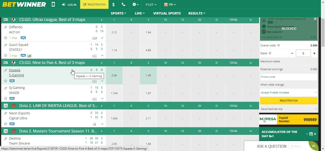 Betwinner E-sport
