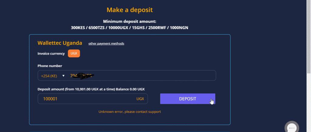 BambaBet WalletTec deposit