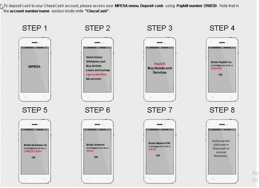 ChesaCash Payment methods menu