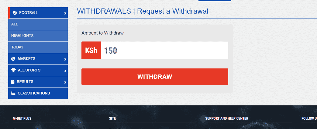 M-Bet withdrawal options