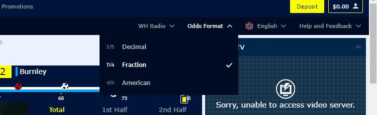 William Hill decimal odds format