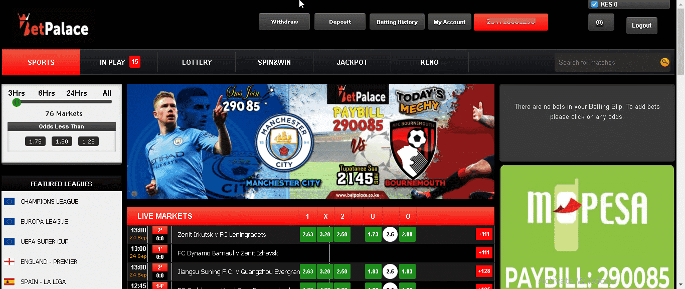 BetPalace home page