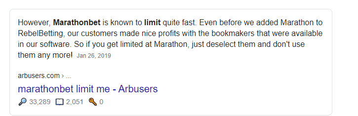 Google results for MarathonBet account limits explained