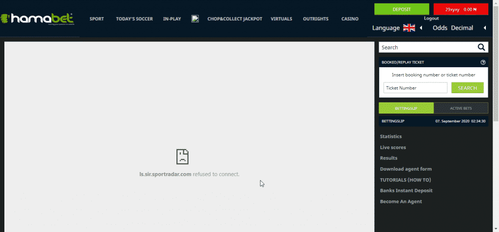 Hamabet live feature error