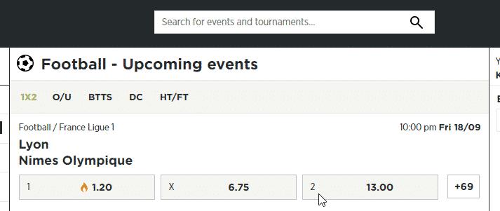 BetPawa upcoming events