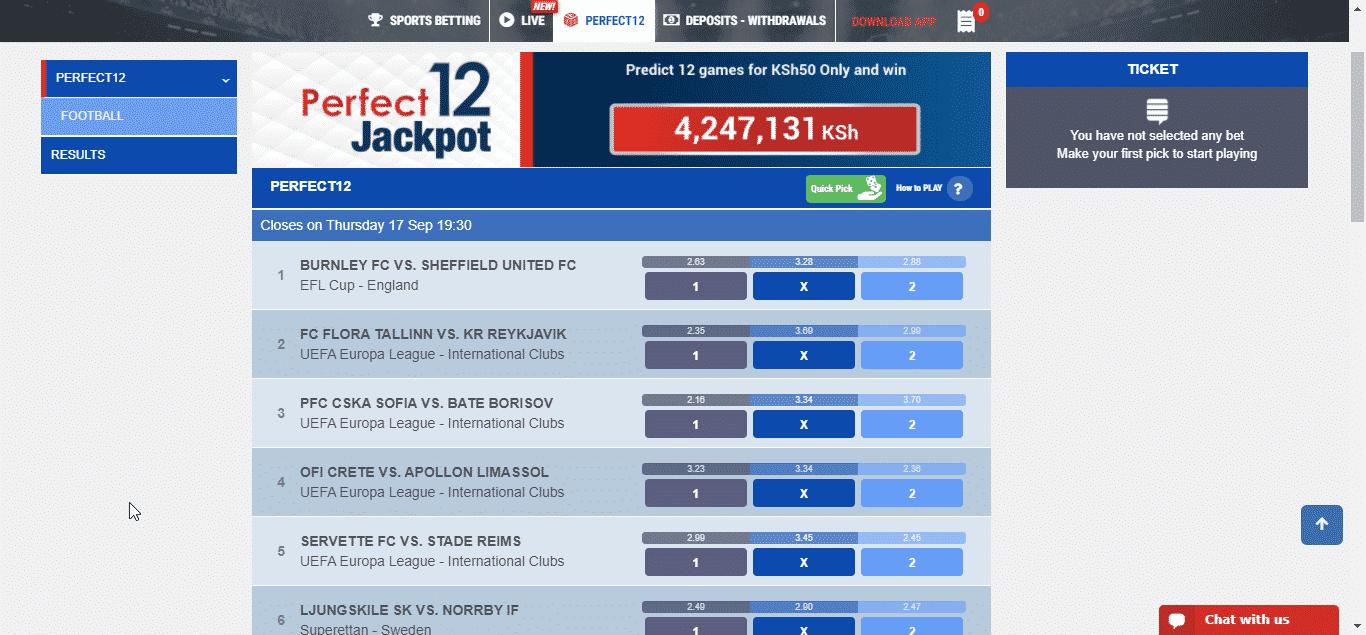 M-bet perfect 12 Jackpot