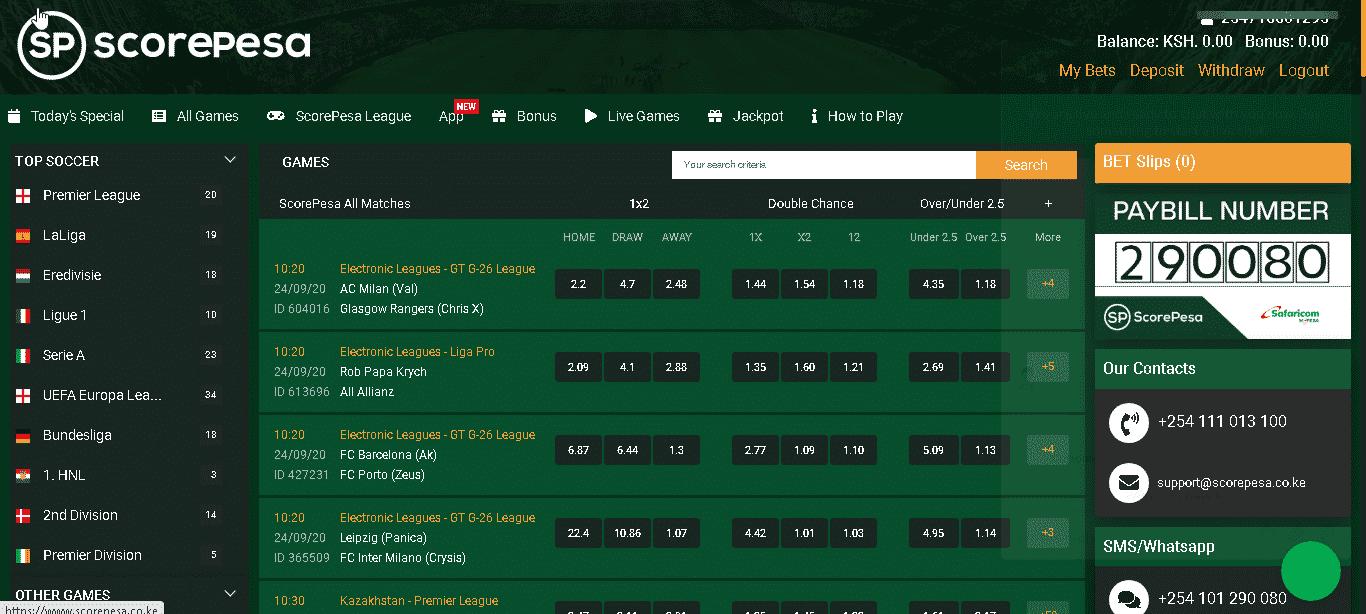 Scorepesa home page
