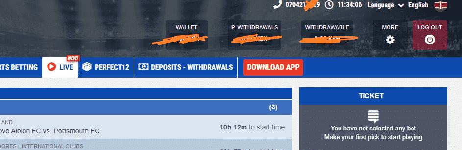 M-Bet transactions menu