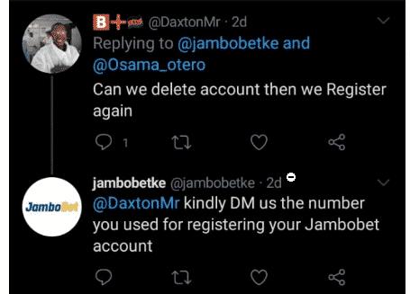 Jambobet Customer care replies
