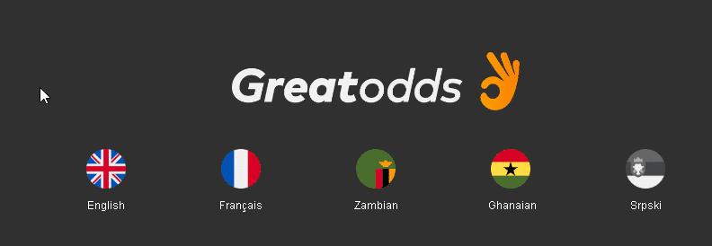 GreatOdds languages selector screen shot