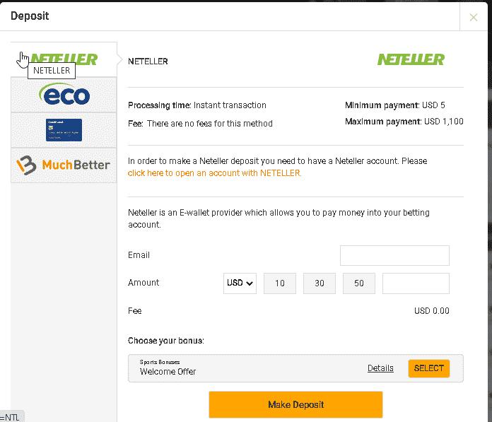 GreatOdds payment methods screen shot