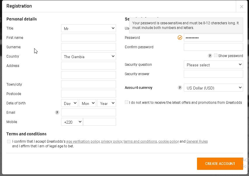 GreatOdds registration  screen shot