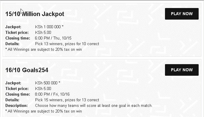 Bet254 Jackpots