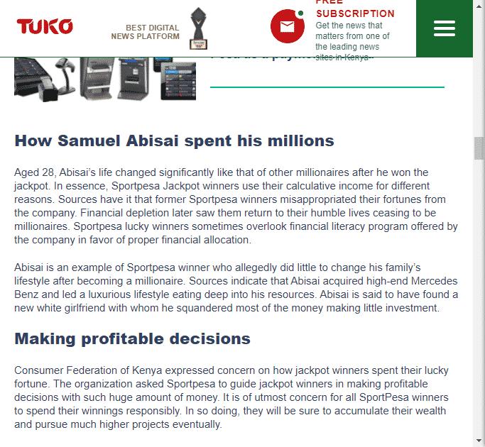 Samuel Abisai rumors