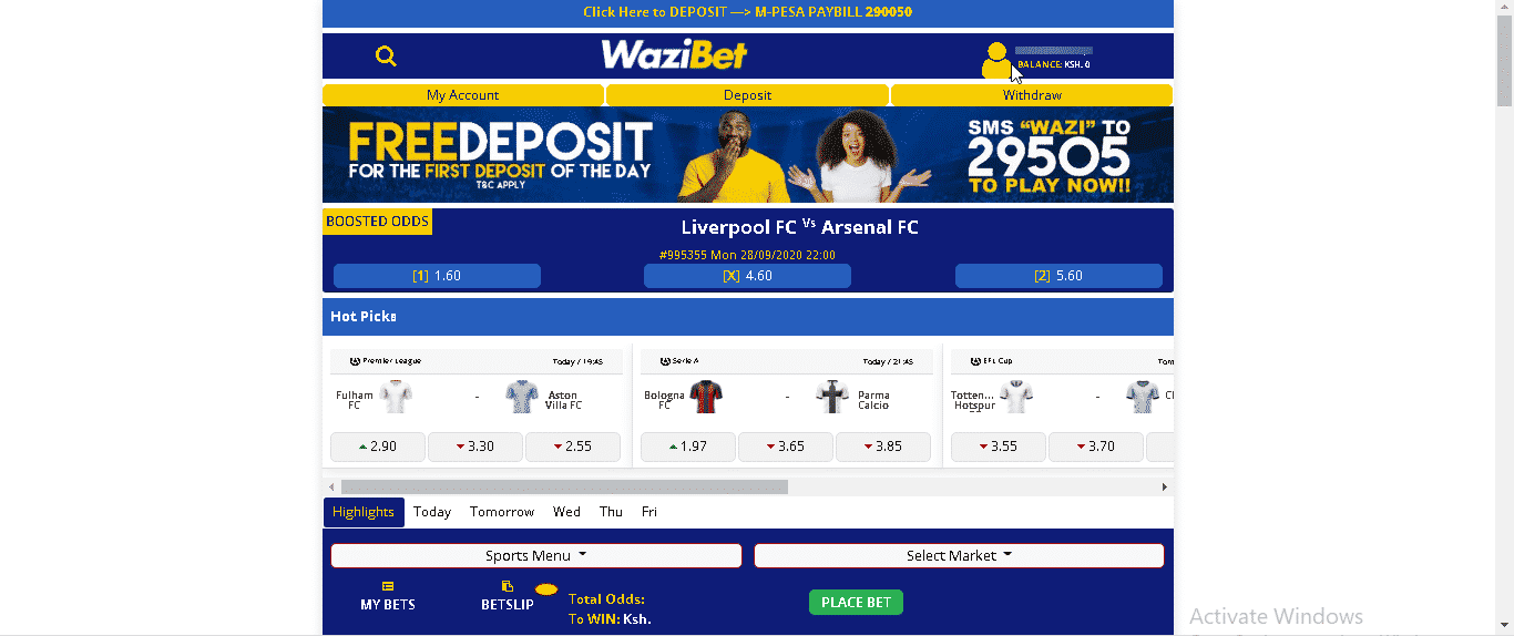 Wazibet Desktop version