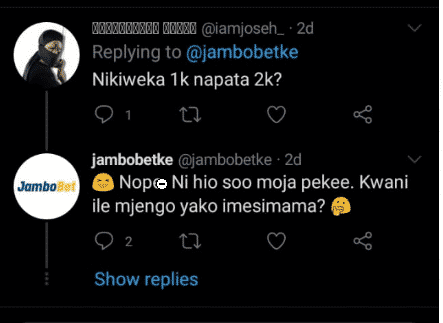 Jambobet Customer care replies 2