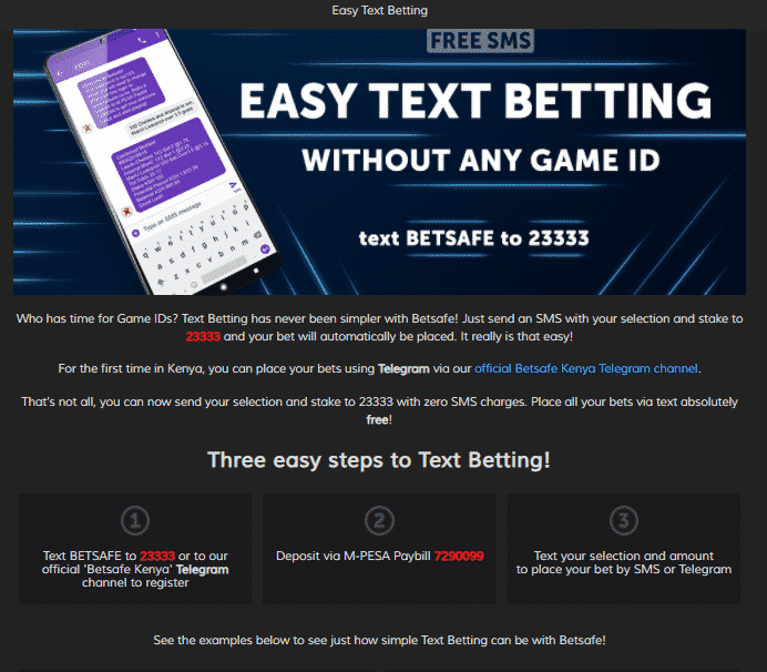 betsafe text betting