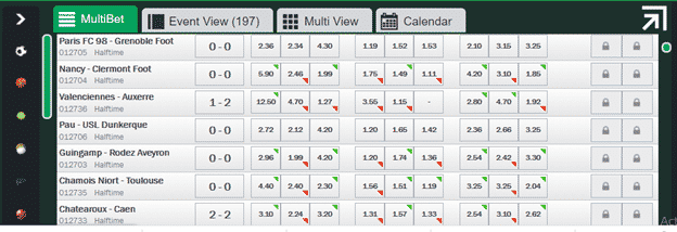 inplay betting example